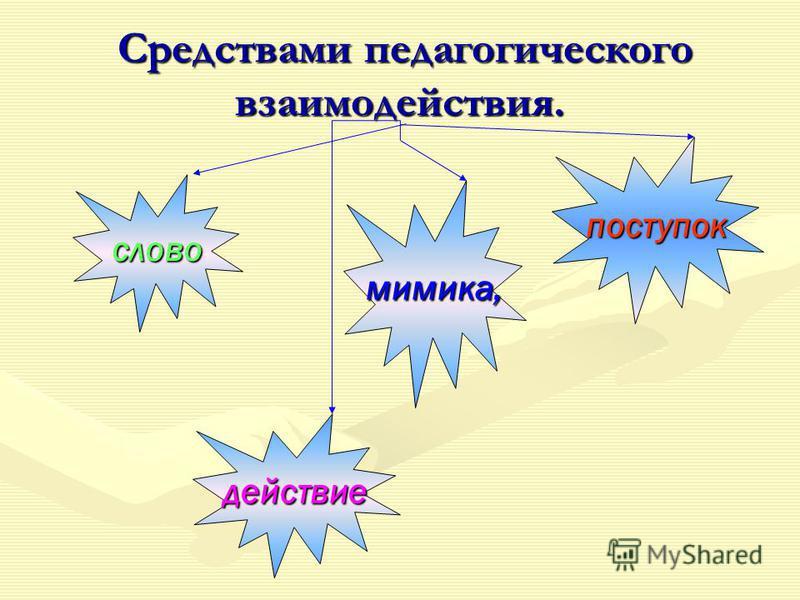 Средствами педагогического взаимодействия. Средствами педагогического взаимодействия. слово мимика, поступок действие