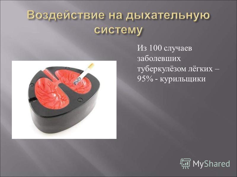 Из 100 случаев заболевших туберкулёзом лёгких – 95% - курильщики