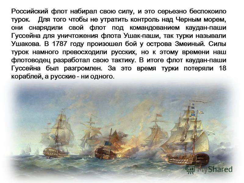 Российский флот набирал свою силу, и это серьезно беспокоило турок. Для того чтобы не утратить контроль над Черным морем, они снарядили свой флот под командованием кардан-паши Гуссейна для уничтожения флота Ушак-паши, так турки называли Ушакова. В 17