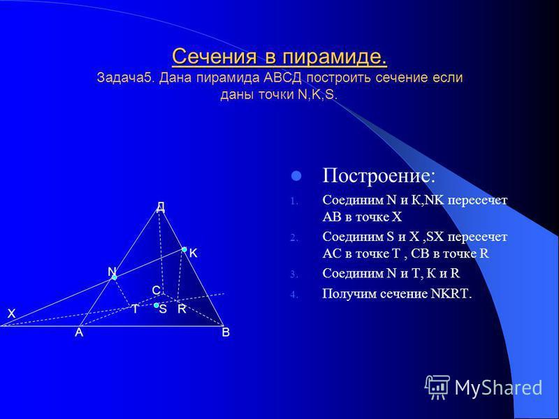 Сечения в пирамиде. Задача 4. Дана пирамида АВСД построить сечение если даны точки N,K,S. Построение: 1. Соединим С и S,CS пересечет ДВ в точке К 2. Соединим С и N 3. Соединим N и К 4. Получим сечение NKC. А В С Д N S K