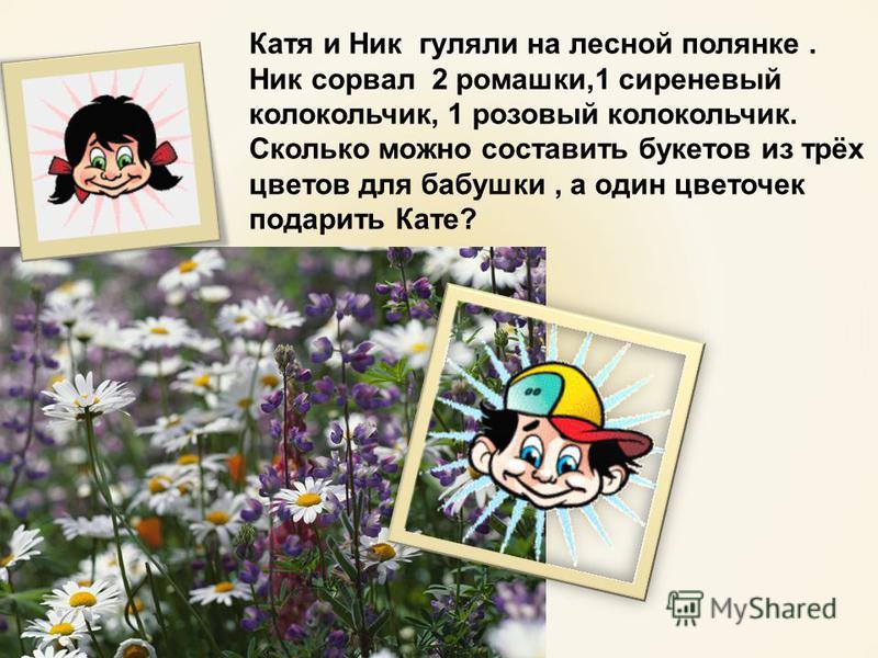 Катя и Ник гуляли на лесной полянке. Ник сорвал 2 ромашки,1 сиреневый колокольчик, 1 розовый колокольчик. Сколько можно составить букетов из трёх цветов для бабушки, а один цветочек подарить Кате?