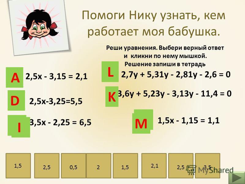 Помоги Нику узнать, кем работает моя бабушка. Реши уравнения. Выбери верный ответ и кликни по нему мышкой. Решение запиши в тетрадь 1,5 х - 1,15 = 1,1 2,7 у + 5,31 у - 2,81 у - 2,6 = 0 2,5 х - 3,15 = 2,1 2,5 х-3,25=5,5 3,5 х - 2,25 = 6,5 3,6 у + 5,23