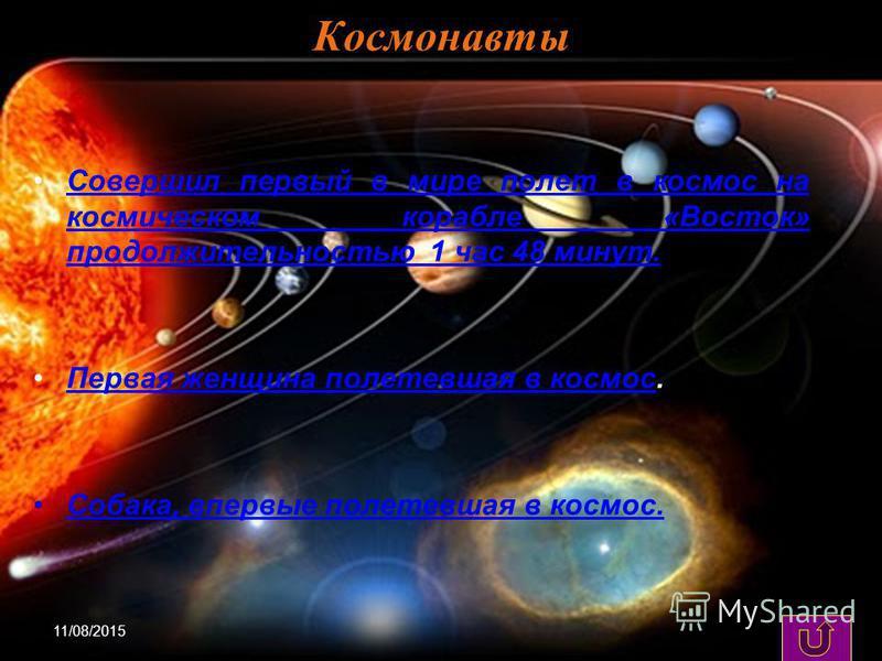 11/08/20156 Космонавты Совершил первый в мире полет в космос на космическом корабле «Восток» продолжительностью 1 час 48 минут.Совершил первый в мире полет в космос на космическом корабле «Восток» продолжительностью 1 час 48 минут. Первая женщина пол
