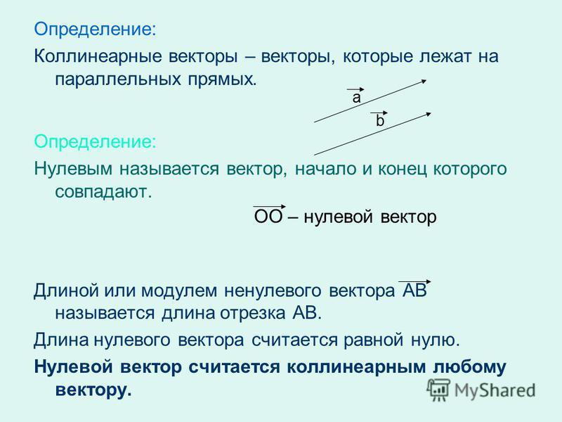 Определение: Коллинеарные векторы – векторы, которые лежат на параллельных прямых. Определение: Нулевым называется вектор, начало и конец которого совпадают. Длиной или модулем ненулевого вектора АВ называется длина отрезка АВ. Длина нулевого вектора