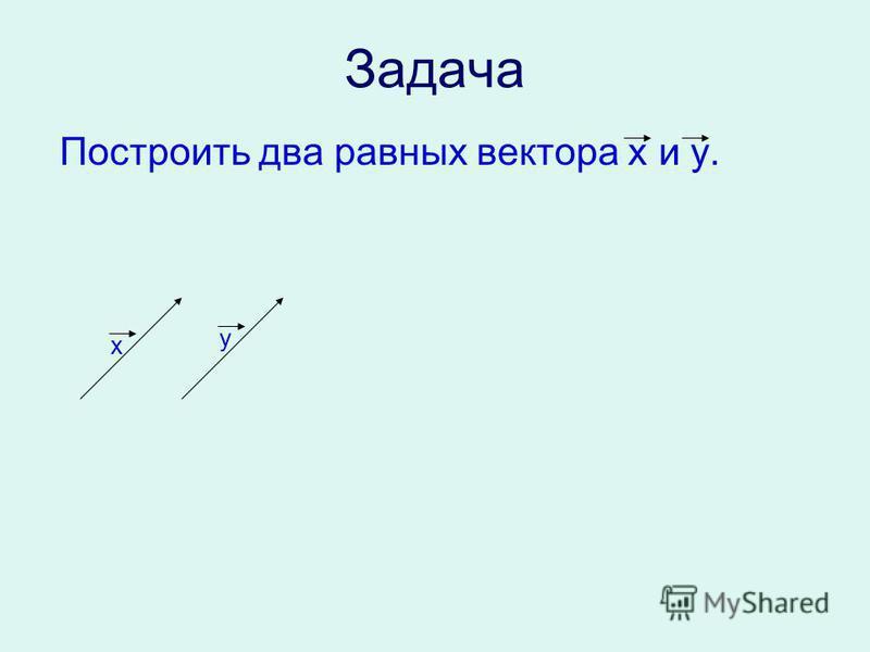 Задача Построить два равных вектора x и y. x y
