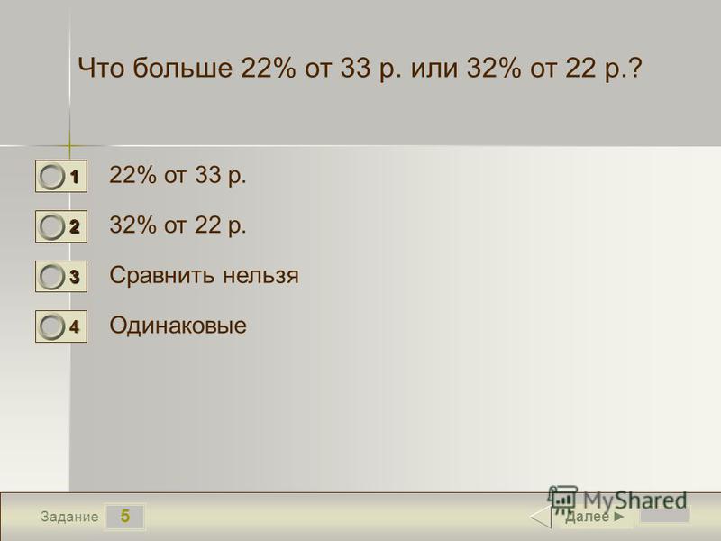 5 Задание Что больше 22% от 33 р. или 32% от 22 р.? 22% от 33 р. 32% от 22 р. Сравнить нельзя Одинаковые Далее 1 1 2 0 3 0 4 0