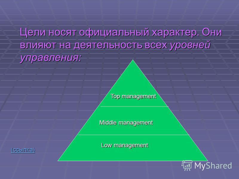 Цели носят официальный характер. Они влияют на деятельность всех уровней управления: Цели носят официальный характер. Они влияют на деятельность всех уровней управления: (ссылка) Top management Middle management Low management