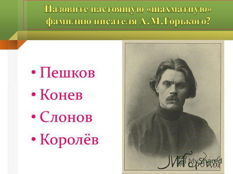 Пешков Конев Слонов Королёв