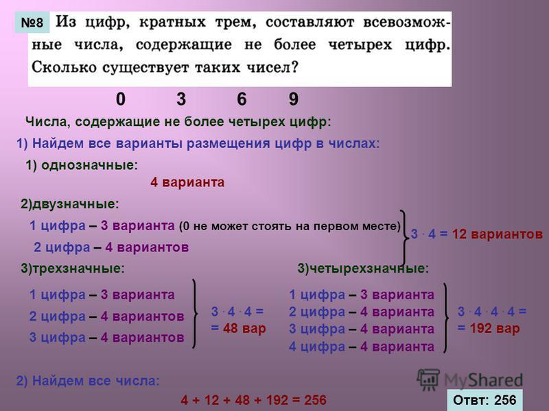 38 0369 Числа, содержащие не более четырех цифр: 1) однозначные: 2)двузначные: 3)трехзначные: 4 варианта 1 цифра – 3 варианта (0 не может стоять на первом месте) 2 цифра – 4 вариантов 1) Найдем все варианты размещения цифр в числах: 3. 4 = 12 вариант