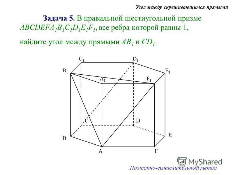 Задача 5. В правильной шестиугольной призме АBCDEFA 1 B 1 C 1 D 1 E 1 F 1, все ребра которой равны 1, найдите угол между прямыми АВ 1 и СD 1. Угол между скрещивающимся прямыми Поэтапно-вычислительный метод