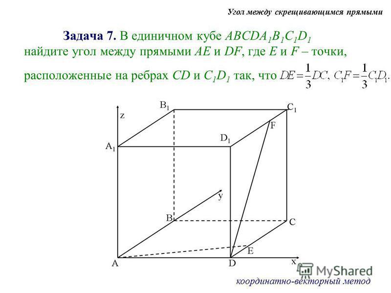 Задача 7. В единичном кубе АBCDA 1 B 1 C 1 D 1 найдите угол между прямыми АЕ и DF, где Е и F – точки, расположенные на ребрах CD и C 1 D 1 так, что Угол между скрещивающимся прямыми координатно-векторный метод