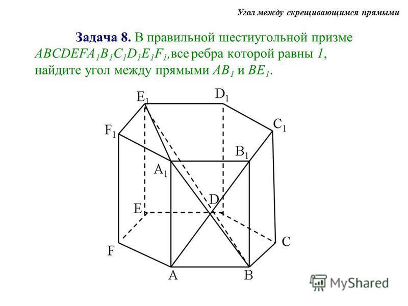 Задача 8. В правильной шестиугольной призме АBCDEFA 1 B 1 C 1 D 1 E 1 F 1,все ребра которой равны 1, найдите угол между прямыми АВ 1 и ВЕ 1. Угол между скрещивающимся прямыми