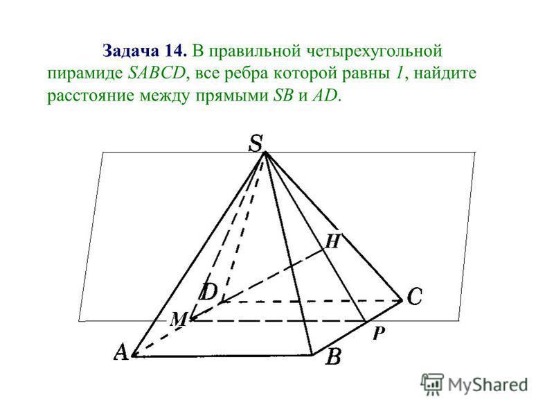 Задача 14. В правильной четырехугольной пирамиде SАВСD, все ребра которой равны 1, найдите расстояние между прямыми SB и AD.