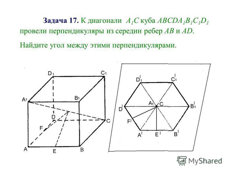 Задача 17. К диагонали А 1 С куба АВСDA 1 B 1 C 1 D 1 провели перпендикуляры из середин ребер АВ и АD. Найдите угол между этими перпендикулярами.