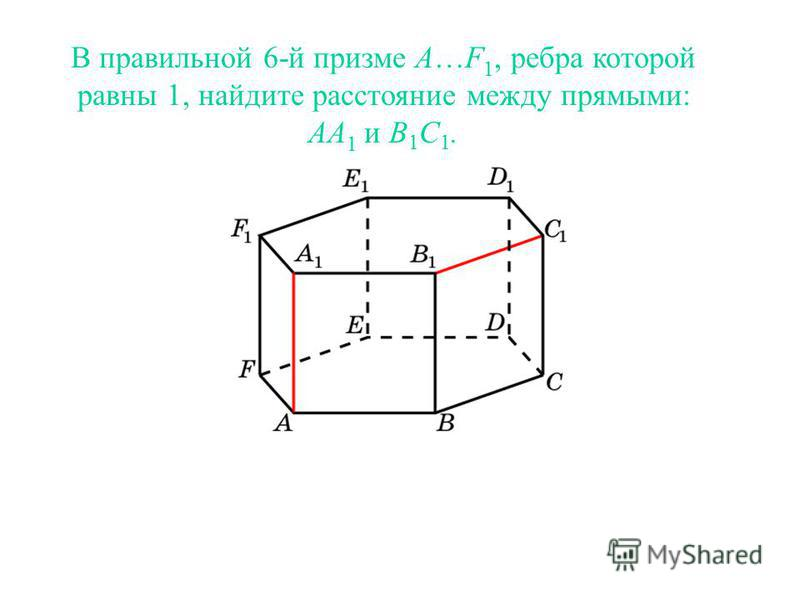В правильной 6-й призме A…F 1, ребра которой равны 1, найдите расстояние между прямыми: AA 1 и B 1 C 1.