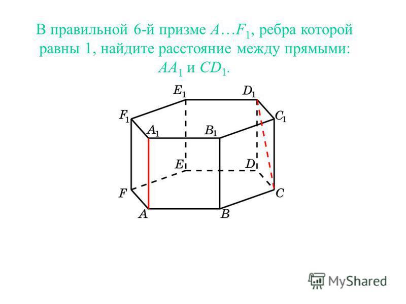 В правильной 6-й призме A…F 1, ребра которой равны 1, найдите расстояние между прямыми: AA 1 и CD 1.