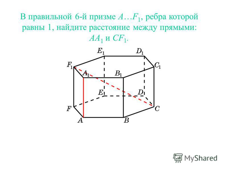В правильной 6-й призме A…F 1, ребра которой равны 1, найдите расстояние между прямыми: AA 1 и CF 1.
