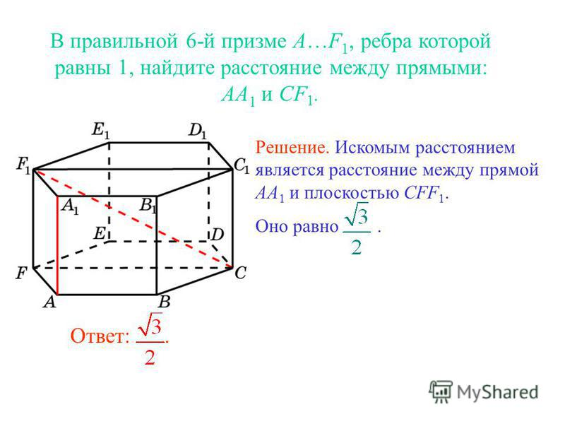 Ответ:. Решение. Искомым расстоянием является расстояние между прямой AA 1 и плоскостью CFF 1. Оно равно.