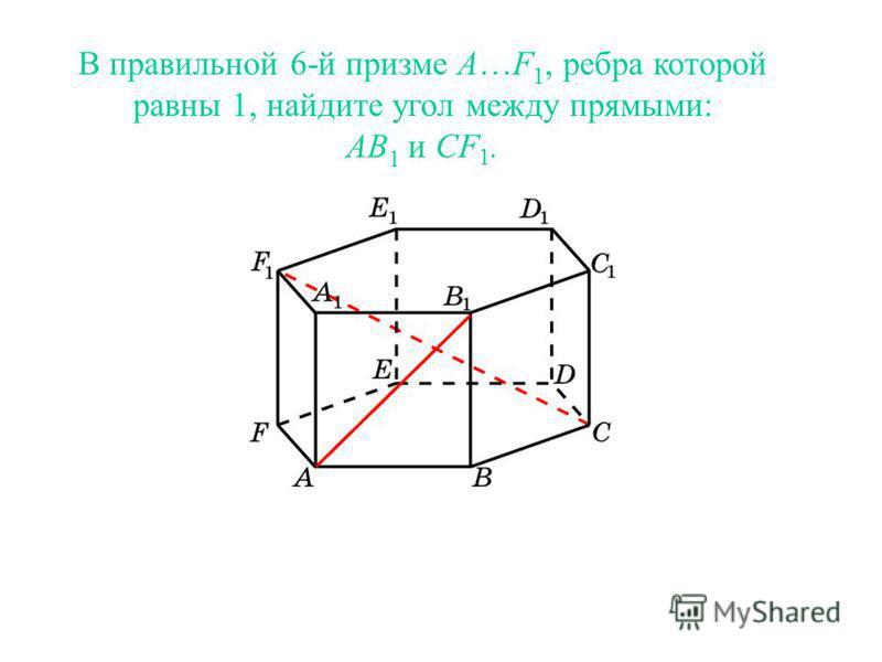 В правильной 6-й призме A…F 1, ребра которой равны 1, найдите угол между прямыми: AB 1 и CF 1.