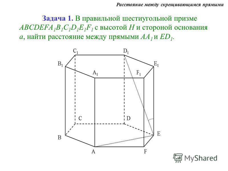 Задача 1. В правильной шестиугольной призме ABCDEFA 1 B 1 C 1 D 1 E 1 F 1 с высотой Н и стороной основания а, найти расстояние между прямыми АА 1 и ЕD 1. Расстояние между скрещивающимся прямыми