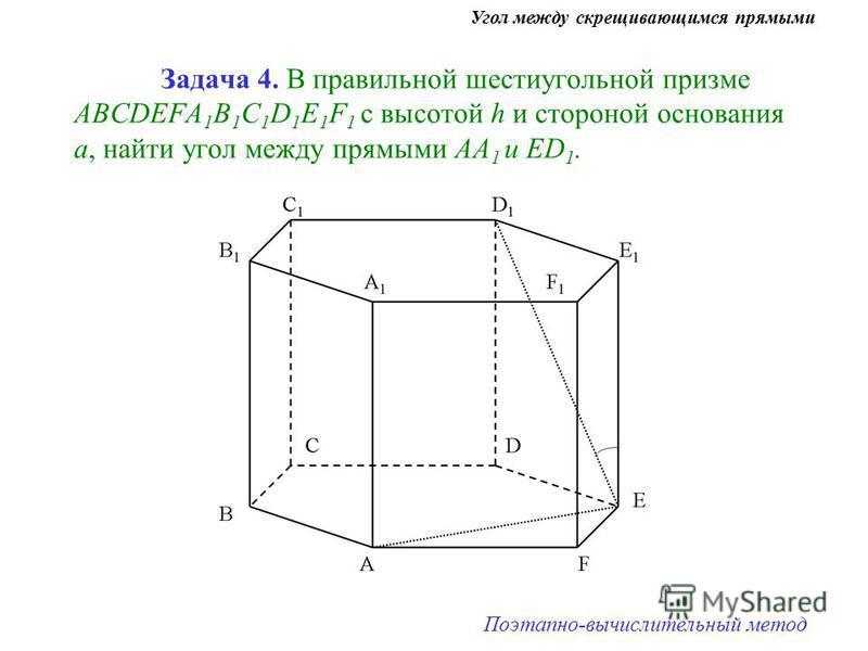 Задача 4. В правильной шестиугольной призме ABCDEFA 1 B 1 C 1 D 1 E 1 F 1 с высотой h и стороной основания а, найти угол между прямыми АА 1 и ЕD 1. Угол между скрещивающимся прямыми Поэтапно-вычислительный метод