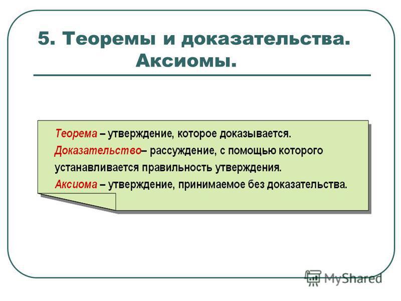 5. Теоремы и доказательства. Аксиомы.