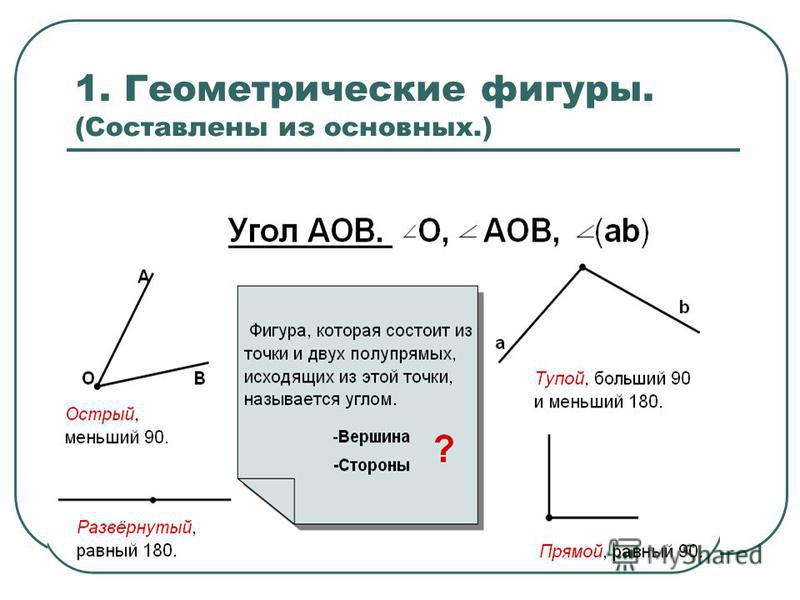 1. Геометрические фигуры. (Составлены из основных.)