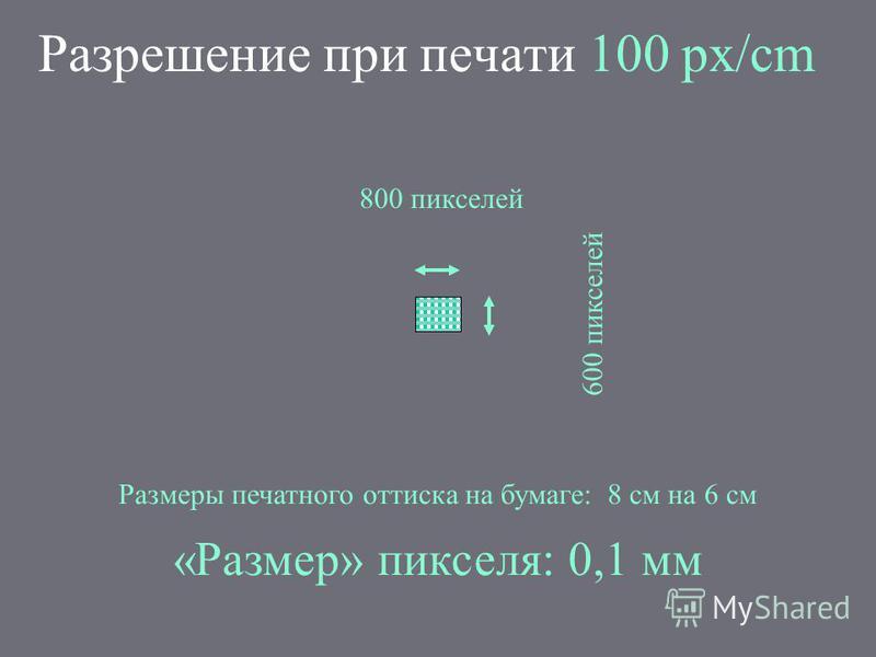 Разрешение при печати 100 px/cm 800 пикселей 600 пикселей Размеры печатного оттиска на бумаге: 8 см на 6 см «Размер» пикселя: 0,1 мм