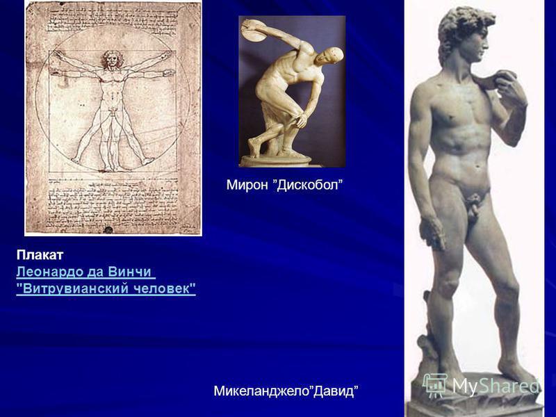 Плакат Леонардо да Винчи Витрувианский человек Леонардо да Винчи Витрувианский человек Мирон Дискобол Микеланджело Давид