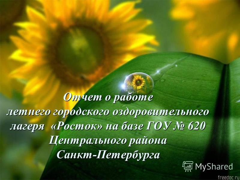 Отчет о работе летнего городского оздоровительного лагеря «Росток» на базе ГОУ 620 Центрального района Санкт-Петербурга