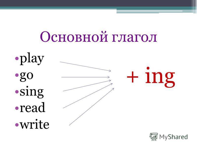 Основной глагол play go sing read write + ing