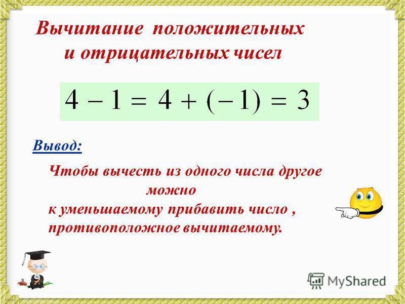 Вычитание положительных и отрицательных чисел Вывод: Чтобы вычесть из одного числа другое можно к уменьшаемому прибавить число, противоположное вычитаемому.