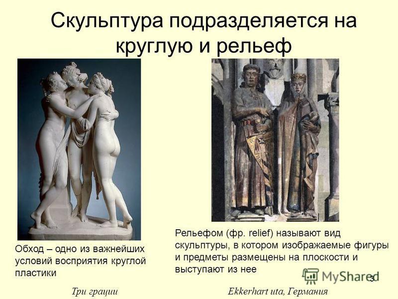 3 Скульптура подразделяется на круглую и рельеф Обход – одно из важнейших условий восприятия круглой пластики Рельефом (фр. relief) называют вид скульптуры, в котором изображаемые фигуры и предметы размещены на плоскости и выступают из нее Три грации