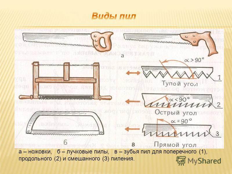 а – ножовки, б – лучковые пилы, в – зубья пил для поперечного (1), продольного (2) и смешанного (3) пиления.