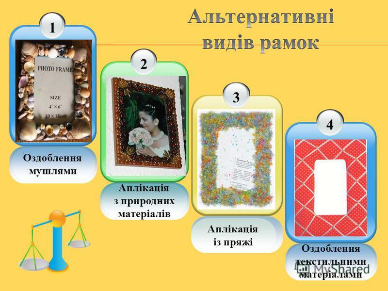 Оздоблення мушлями 12 Аплікація з природних матеріалів 3 Аплікація із пряжі Оздоблення текстильними матеріалами 4
