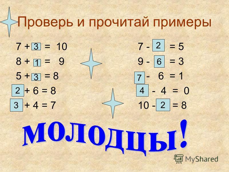 Проверь и прочитай примеры 7 + = 10 7 - = 5 8 + = 9 9 - = 3 5 + = 8 - 6 = 1 + 6 = 8 - 4 = 0 + 4 = 7 10 - = 8 3 1 3 2 3 2 6 7 4 2