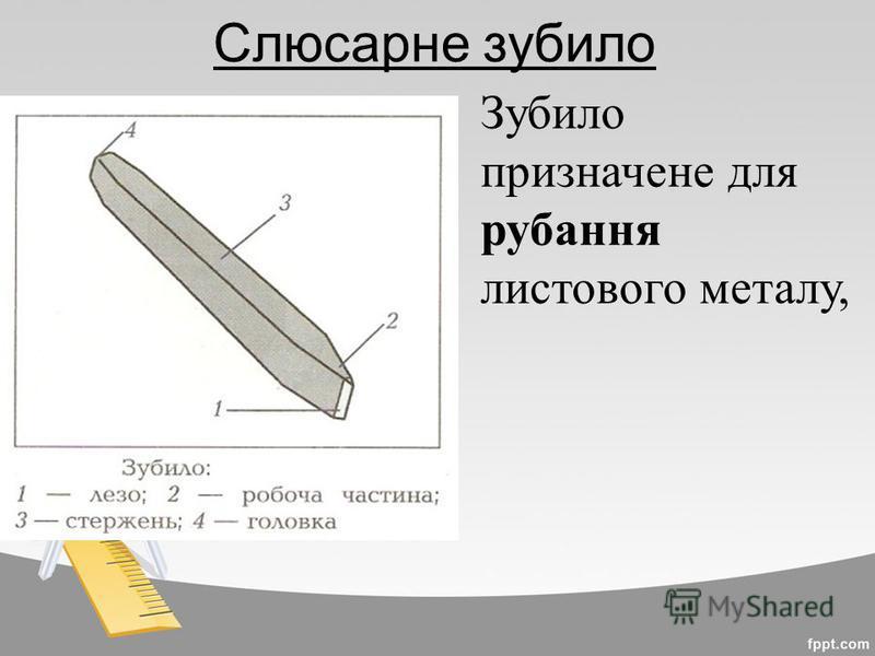 Слюсарне зубило Зубило призначене для рубання листового металу,