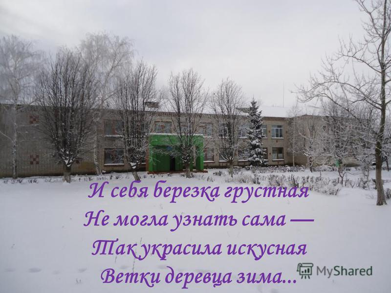 И себя березка грустная Не могла узнать сама Так украсила искусная Ветки деревца зима...