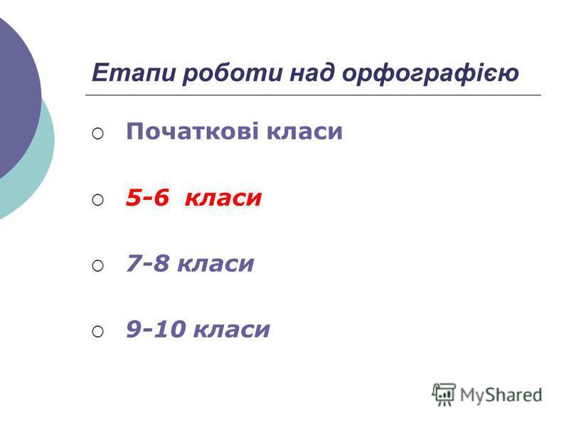 Етапи роботи над орфографією Початкові класи 5-6 класи 7-8 класи 9-10 класи