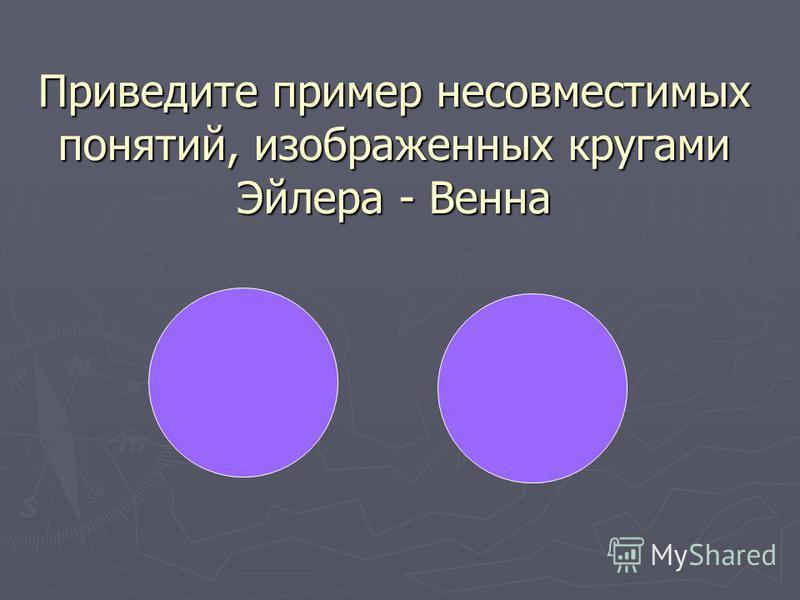 Приведите пример несовместимых понятий, изображенных кругами Эйлера - Венна