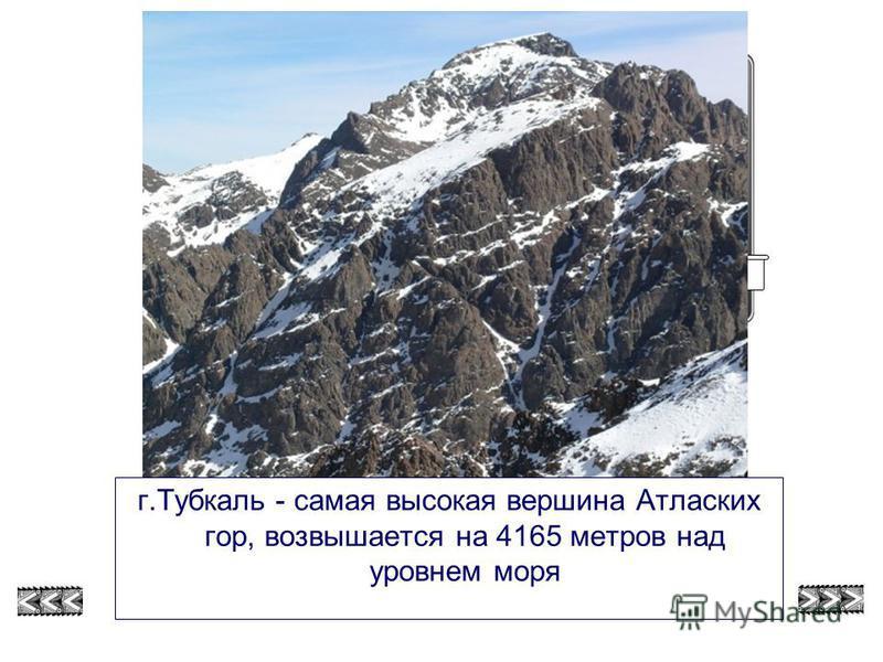 г.Тубкаль - самая высокая вершина Атласких гор, возвышается на 4165 метров над уровнем моря Г. Тубкаль смотри