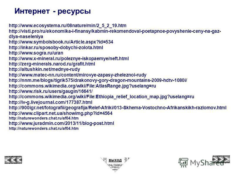 Интернет - ресурсы http://www.ecosystema.ru/08nature/min/2_5_2_19. htm http://visti.pro/ru/ekonomika-i-finansy/kabmin-rekomendoval-poetapnoe-povyshenie-ceny-na-gaz- dlya-naseleniya http://www.symbolsbook.ru/Article.aspx?id=534 http://inkar.ru/sposoby