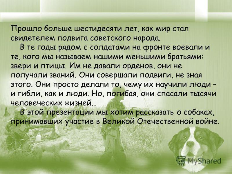 Прошло больше шестидесяти лет, как мир стал свидетелем подвига советского народа. В те годы рядом с солдатами на фронте воевали и те, кого мы называем нашими меньшими братьями: звери и птицы. Им не давали орденов, они не получали званий. Они совершал