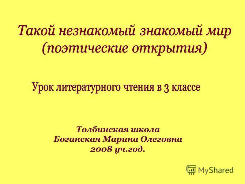 Толбинская школа Боганская Марина Олеговна 2008 уч.год.