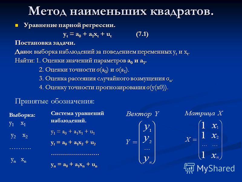 Метод наименьших квадратов. Уравнение парной регрессии. Уравнение парной регрессии. y t = a 0 + a 1 x t + u t (7.1) Постановка задачи. Дано: выборка наблюдений за поведением переменных y t и x t. Найти: 1. Оценки значений параметров a 0 и a 1. 2. Оце