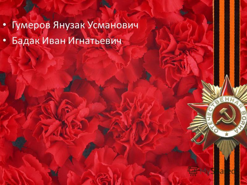 Гумеров Янузак Усманович Бадак Иван Игнатьевич