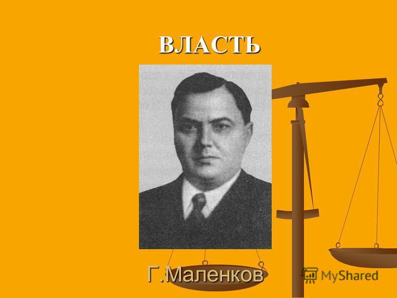 Г.Маленков ВЛАСТЬ