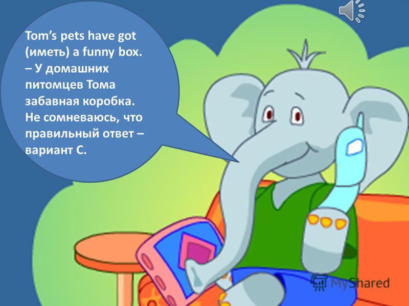 Toms pets have got (иметь) a funny box. – У домашних питомцев Тома забавная коробка. Не сомневаюсь, что правильный ответ – вариант C.