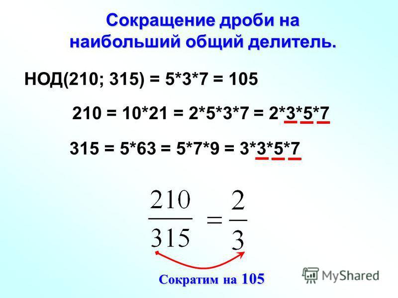 Сокращение дроби на наибольший общий делитель. НОД(210; 315) 210 315 = 10*21= 2*5*3*7= 2*3*5*7 = 5*63= 5*7*9= 3*3*5*7 = 5*3*7 = 105 Сократим на 105