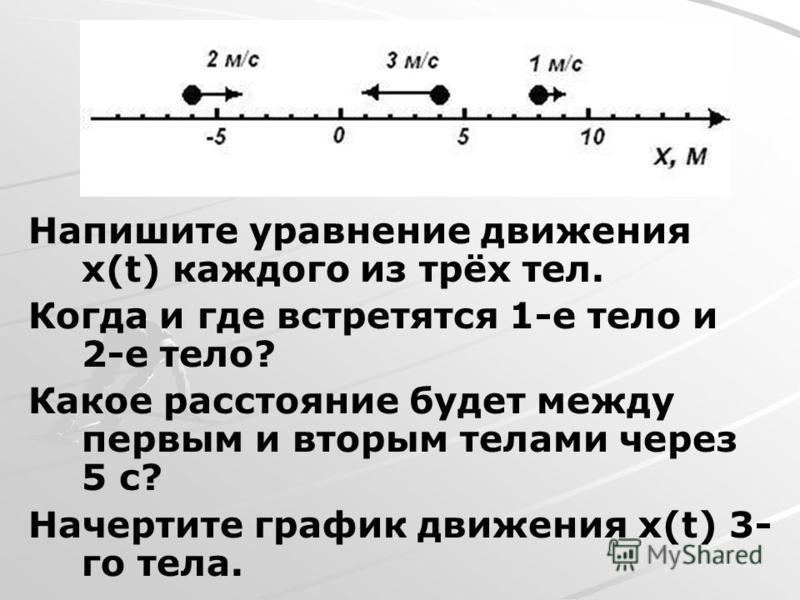 Напишите уравнение движения x(t) каждого из трёх тел. Когда и где встретятся 1-е тело и 2-е тело? Какое расстояние будет между первым и вторым телами через 5 с? Начертите график движения x(t) 3- го тела.